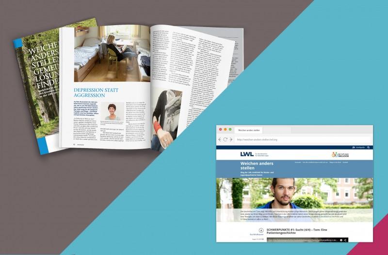 Mockup des Magazins und des Blogs